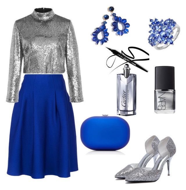 """""""Blue skirt"""" by gforfashion on Polyvore featuring Le Ciel Bleu, A.L.C., WithChic, Jeffrey Levinson, J.Crew, NARS Cosmetics and Cartier"""