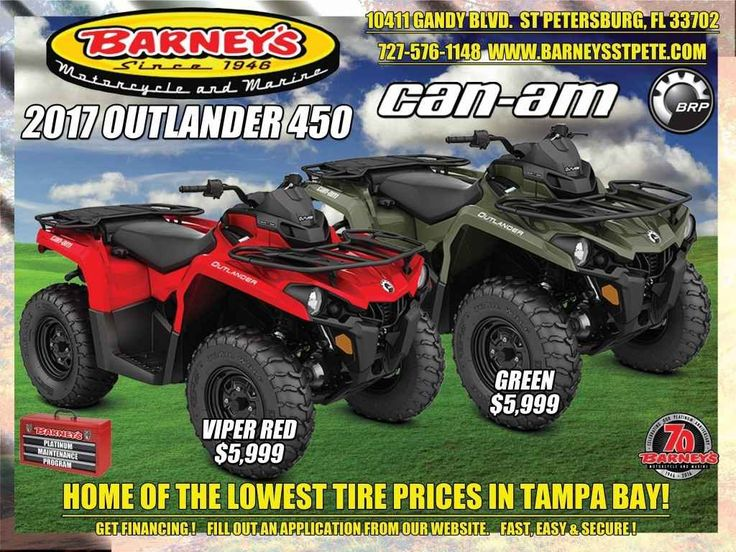 New 2017 Can-Am Outlander 450 ATVs For Sale in Florida. Outlander 450 - MOST ACCESSIBLE PRICE EVERRaise your expectations, not your price range. Get the all-terrain performance you'd expect from Can-Am at the most accessible price ever.Call Norm at 727-576-1148 for all the details.Ask About Barney's Platinum Maintenance ProgramGet VIP Preferred Service and Enjoy the Savings Too!We now offer financing for parts, accessories and installation through Snap Finance.Snap Finance provides easy…