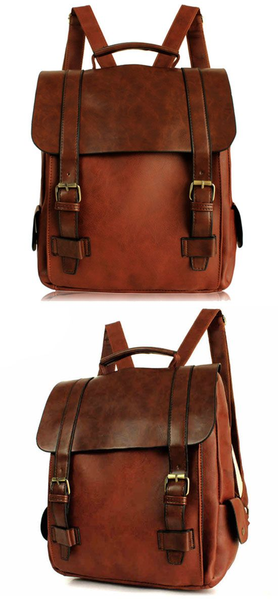 Retro College Double Hasp Solid Brown Travel School Bag Backpack for my sister ! #backpack #school #brown #retro #bag #college