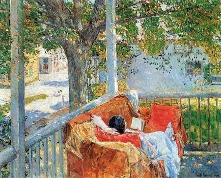 Childe Hassam painting: Couch on the porch
