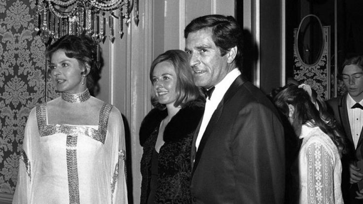 Ingrid Bergman, her daughter Pia, and Hugh O'Brien arrive at Beverly Hilton for…