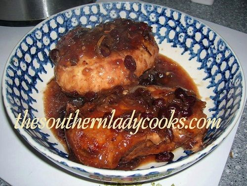 This is an easy recipe.  Just throw all the ingredients in the crockpot and in a few hours you have a great way to serve chicken! 2 or 3 boneless, skinless chicken breasts (could use legs or thighs...