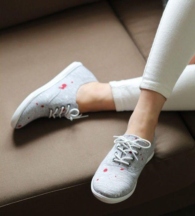Painted point vintage lace up womens sneakers from Korea online fashion shop shoemakker Fashion-Korea