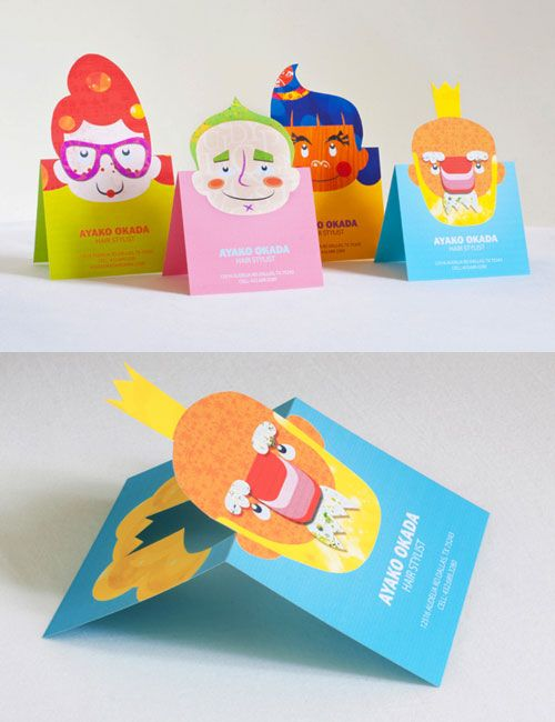 Popup Business Cards: Designed a small series of unique popup business cards for hair stylist Ayako Okada. Cards show an illustration of a hair style and when folded in half, a new hair style pops up. (Visit http://www.silkyszeto.com/images/graphic/projects/AyakoOkada.html)