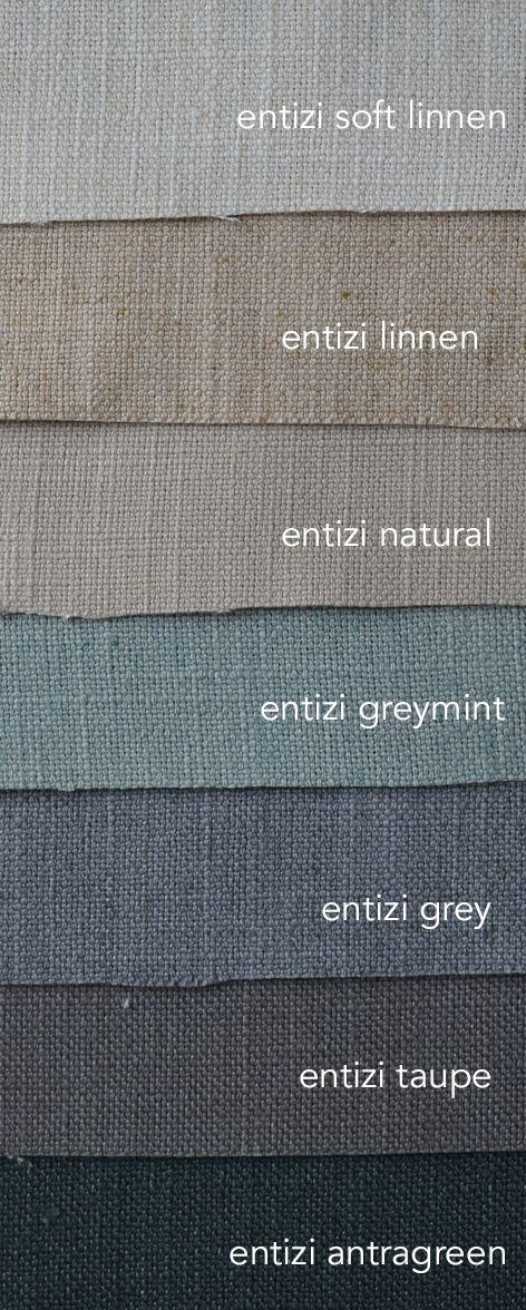 Entizi is een mooie zware gordijnstof met 20% linnen. Soepel en stoer. In mooie vergrijsde tinten.Geschikt voor gordijn en vouwgordijn. Bestel gratis stalen en laat je gordijnen op maat maken voor je bij echtgordijn