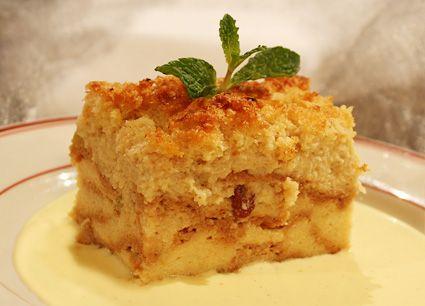Brioche Bread Pudding with Golden Raisins served warm with Bourbon ...