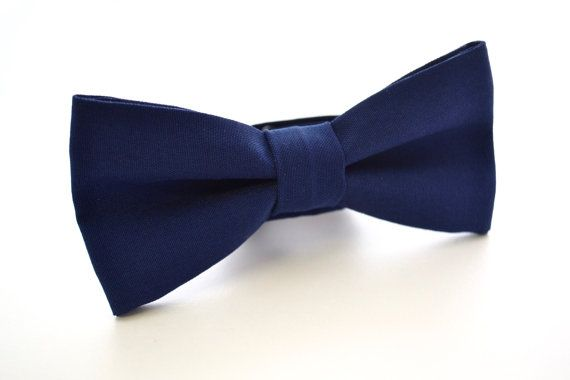 Mens Bowtie in Navy Blue Suiting Material Dark by AmandaJoHandmade