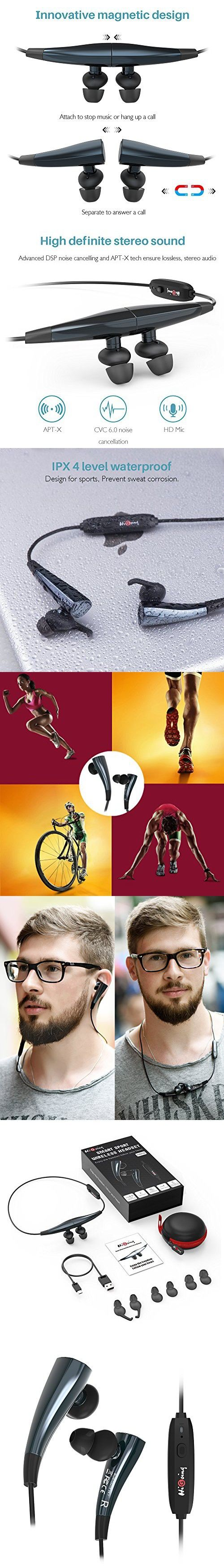 Wireless Bluetooth Headphones, HiGoing Magnetic Workout Cordless Earbuds Waterproof Running Earphones with Mic CVC6.0 Noise Cancelling Headset -HB02