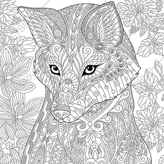Adult coloring pages fox zentangle doodle coloring book page for adults digital illustration instant download print