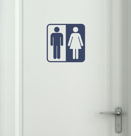 Bathroom Symbol Vinyl Wall Decal by tweetheartwallart on Etsy, $12.00
