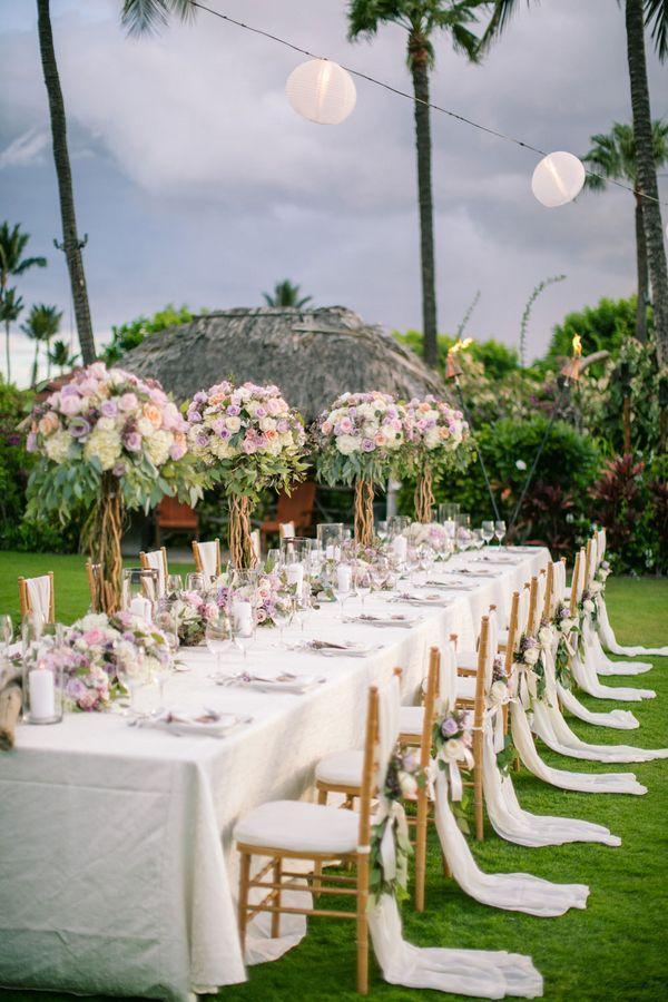 Tropical outdoor wedding reception