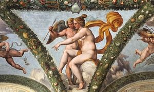 Venus and Cupid fresco by Raphael at the Villa Farnesina in Rome, Italy.