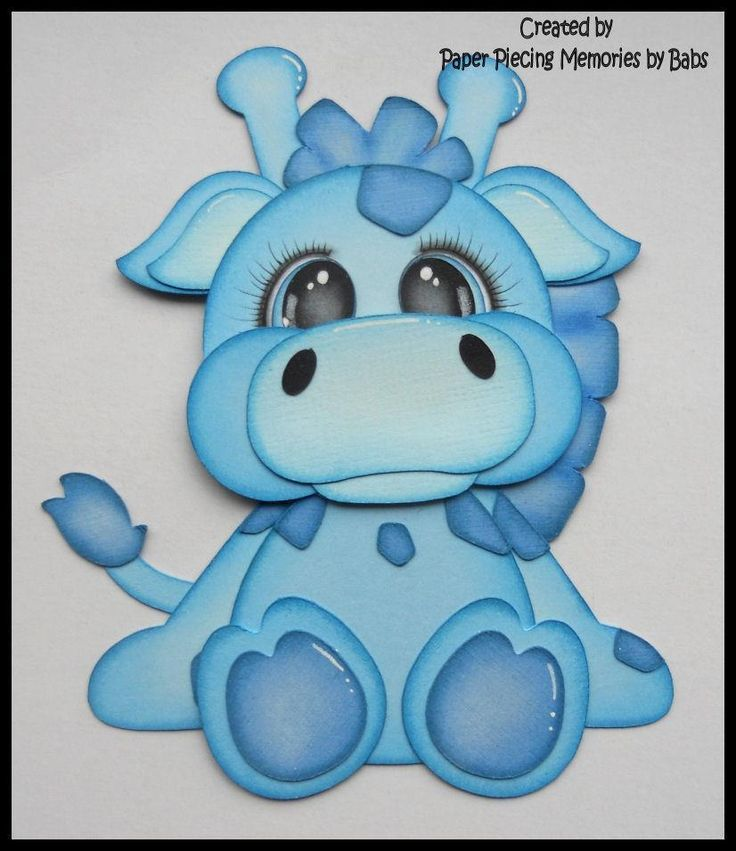 Premade Paper Pieced Blue Giraffe for Scrapbook Pages by Babs #Unbranded