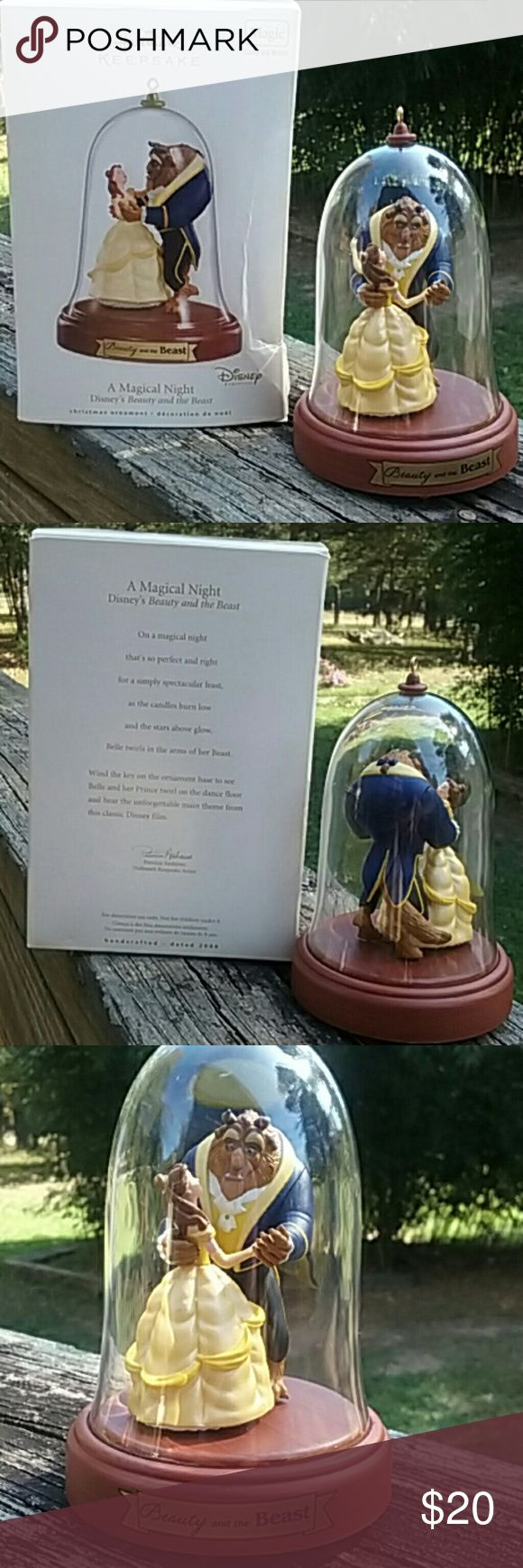 Hallmark Keepsake Beauty and the Beast Magic sound and motion .A musical night Disney's Beauty and the Beast Christmas ornament.New in the box it has never been put on the tree.There is a little tear on the inside of the box where you close it at.I am firm on the price. Hallmark Keepsake Other
