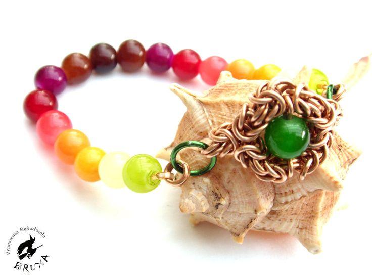 Bransoletka na gumce z elementem chainmaille, bransoletka z minerałów, bransoletka chainmaille, bransoletka bez zapięcia, elastyczna bransoletka