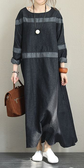 Vintage Black Denim Maxi Dresses Women Fall Clothes Q1371