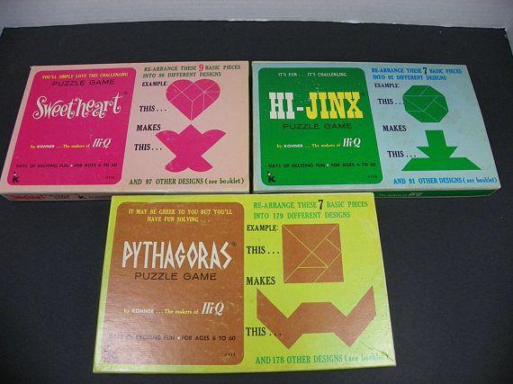Vintage Hi-Q Puzzle Game Lot Hi-Jinx Pythagoras and Sweetheart