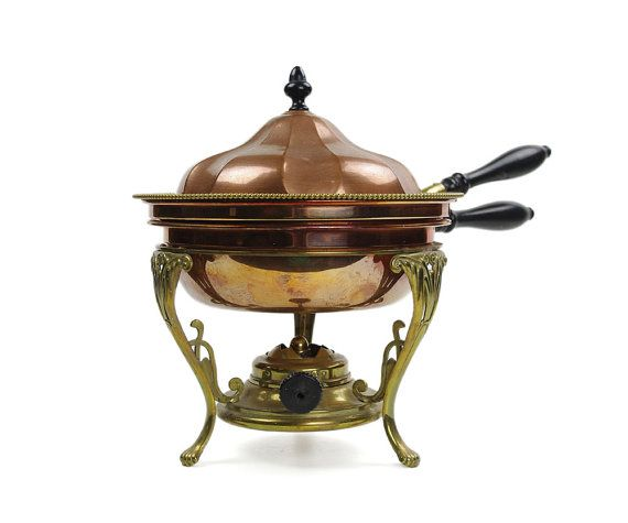 S Sternau and Co Victorian Copper Chafing Dish, Brass Stand and Spirit Burner, Antique c.1895, Double Pan, Superb Condition
