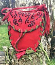 DIVINE NEW RED / GREEN SHOULDER BAG BOHO HIPPIE GYPSY BOHEMIAN PURSE FAIRY FAE