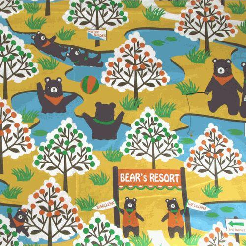 Cosmo Bear Resort, canvas cotton fabric. Retro beren print.