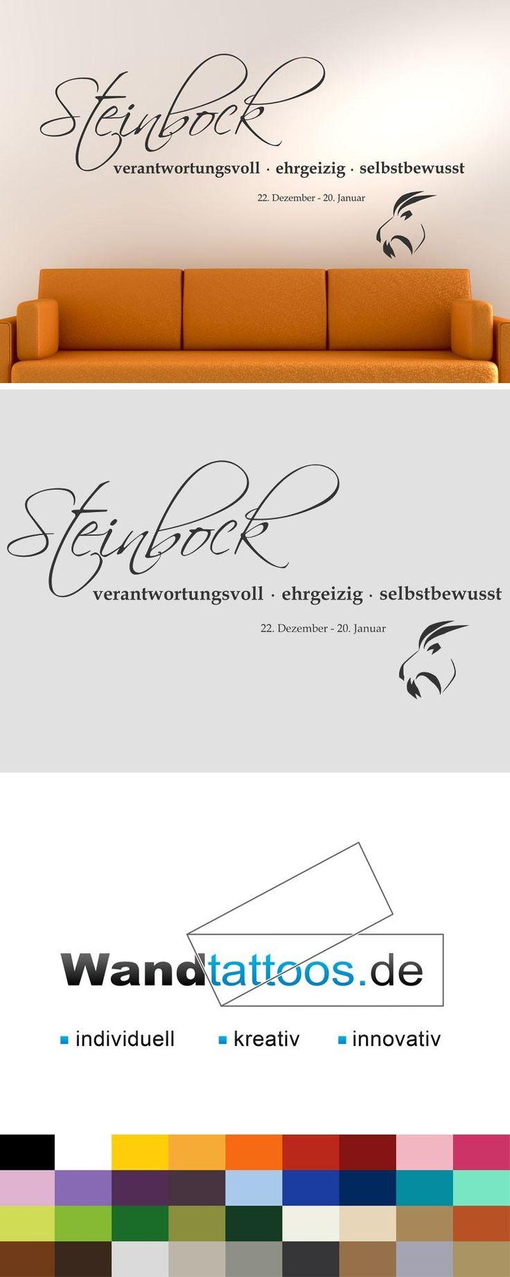 """Wandtattoo Sternzeichen """"Steinbock"""" als Idee zur individuellen Wandgestaltung. Einfach Lieblingsfarbe und Größe auswählen. Weitere kreative Anregungen von Wandtattoos.de hier entdecken!"""