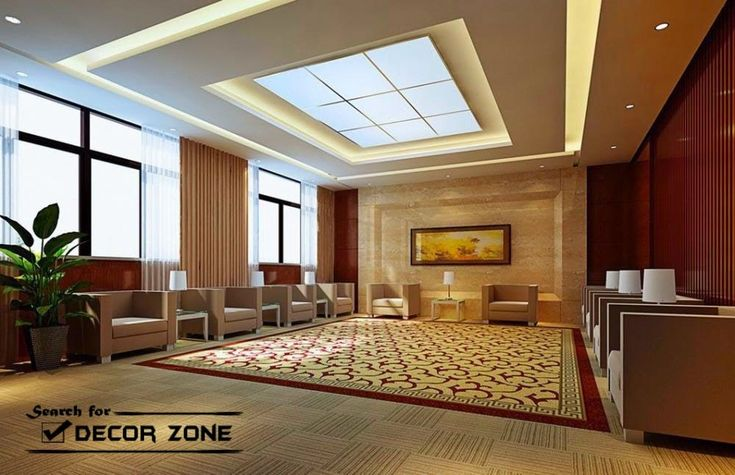 Plasterboard suspended ceiling system for hall interior, suspended ceiling led lighting