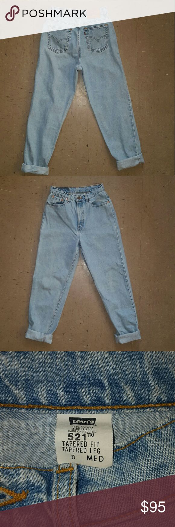 """Vintage Levis 521 High Waisted Mom Jean's 26 Vintage Levis 521 High Waisted Mom Jean's  Size 8 but since they are Vintage they run small.  Waist 13"""" Rise 11.5 Inseam 31  Be sure to check out my other items that are up for sale. You wont be disappointed! Bundle and Save! Levi's Jeans Boyfriend"""