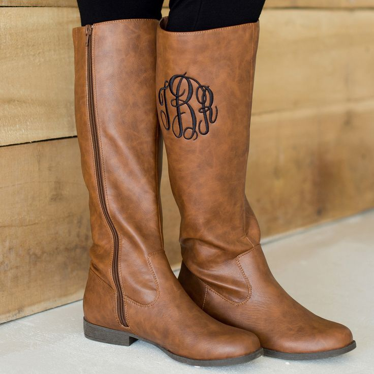 Brooklyn Brown Leather-Like Boots. Available with an optional monogram (http://www.thecutekiwi.com/brooklyn-brown-leather-like-boots/)