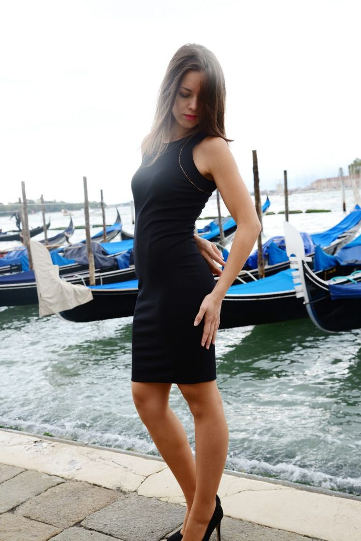 Black Ponte sheath dress