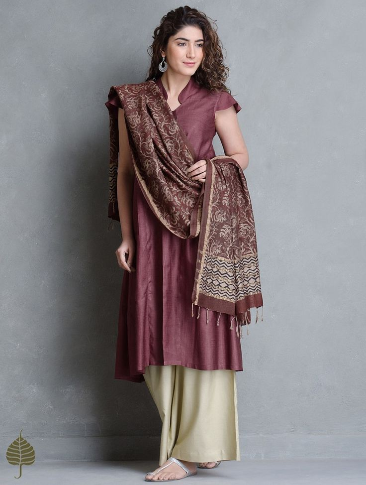 Buy Wine Side Pleated Tussar Munga Kurta by Jaypore Apparel Tunics & Kurtas Online at Jaypore.com