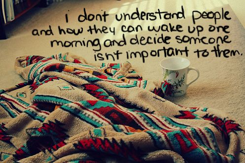I don't understand people and how they can wake up one morning...