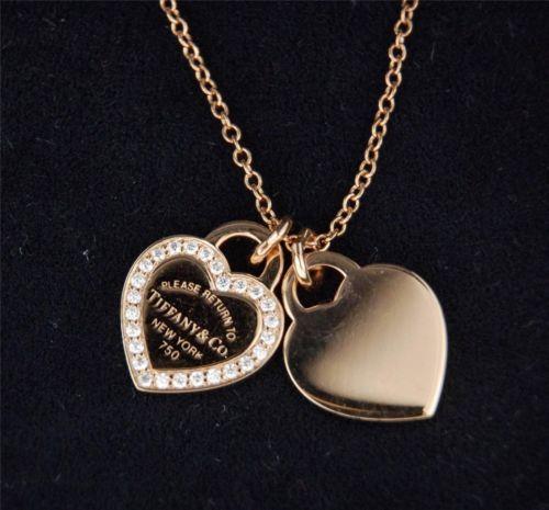 09ece86c7 ... tiffanys 18k rose gold and diamond return to tiffanys necklace  authentic ebay free shipping ...
