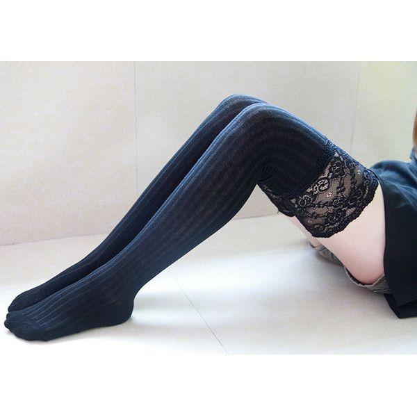 Black Thigh High Socks Lace Trim Long Lace Socks Knee High Socks Black... ($9.90) ❤ liked on Polyvore featuring intimates, hosiery, socks, lace trim socks, christmas socks, black knee high socks, knee high socks and black thigh-high socks