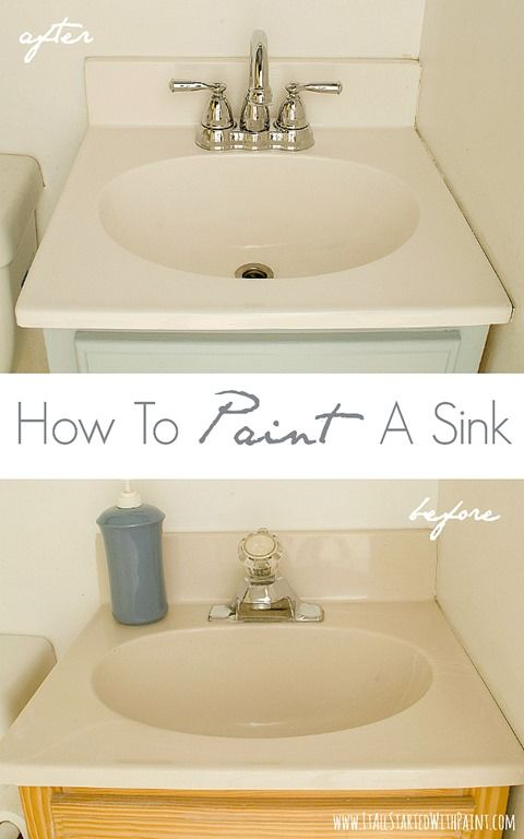 How-To-Paint-A-Sink-Before-and-After  Wow this is so neat! What a wonderful inexpensive way to update a sink!! I can't wait to try!