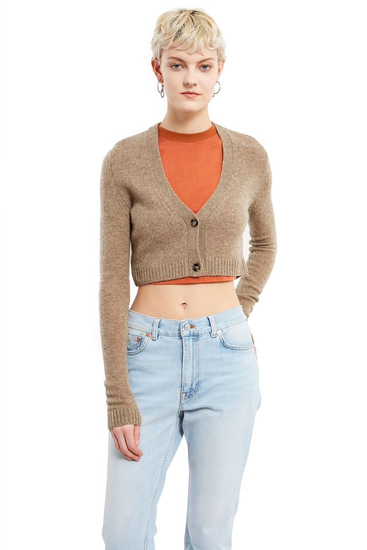 Acne Studios, Drew Cropped Cardigan , Cropped cardigan, V-neck, Two-button front closure, Ribbed cuffs and hem, Slim fit, 100% wool, Imported