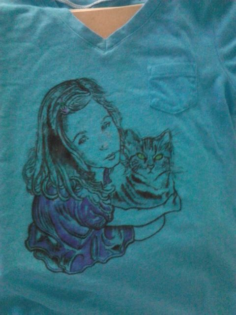 Anthony Gordon niece and kitty shirt art