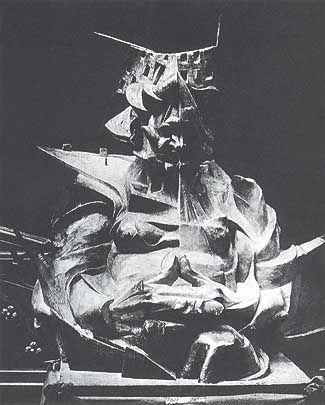 """Umberto Boccioni, """"Testa + casa + luce"""", 1911-12, scultura distrutta"""