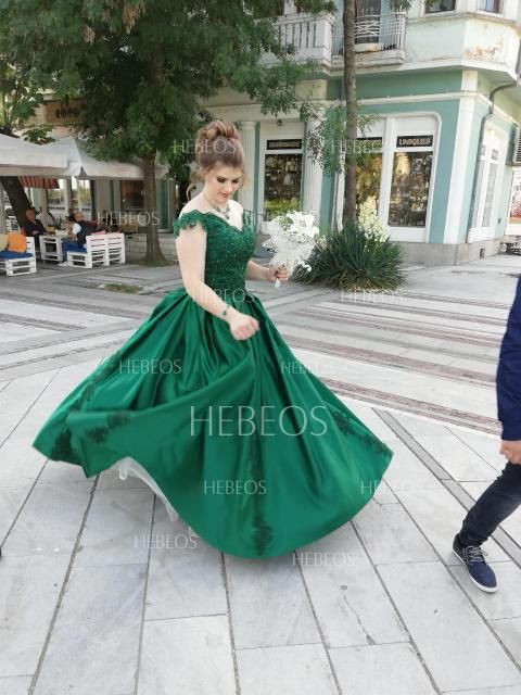 b982082820e Ball Gown Off-the-Shoulder Sleeveless Floor-Length Lace Satin Dresses -  Hebeos Online