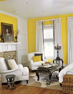 bold and traditionalLiving Rooms, Yellow Wall, Black And White, Colors, Livingroom, Country Living, Yellow Room, Windows Shades, White Furniture