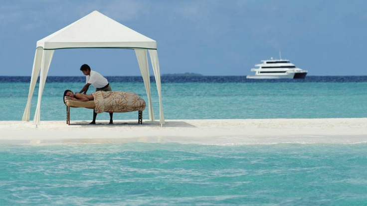 Massage in the middle of the ocean? Sign me up! #JetsetterCurator #ocean #Maldives