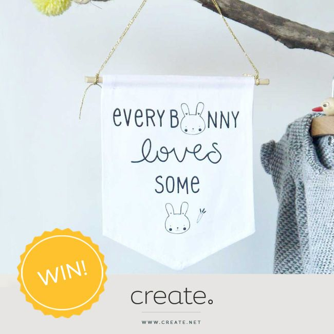 #WIN this cotton bunny wall flag with #FreebieFriday! Really cute decoration for a children's room or nursery! To be in with a chance to win, enter on the Create Facebook. facebook.com/create