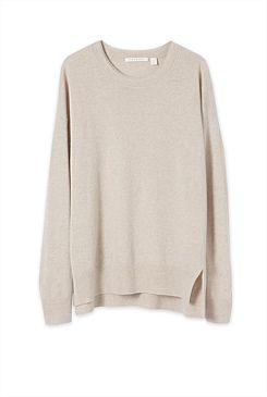 Step Hem Merino Cashmere Pullover - From Trenery (also comes in pale pink)
