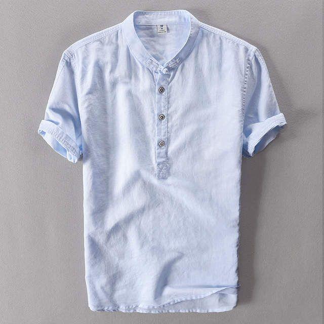 Tienda Online 2019 Camisa De Lino De Verano Blanco Casual Para Hombres De Manga Corta Camisa Ha Camisas Masculinas Camisetas Retro Camisas De Moda Para Hombres