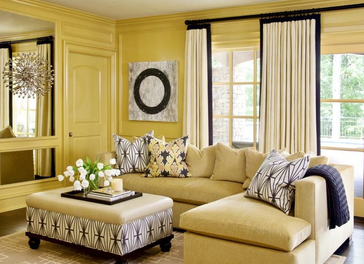traditional living room decorated in yellow and black