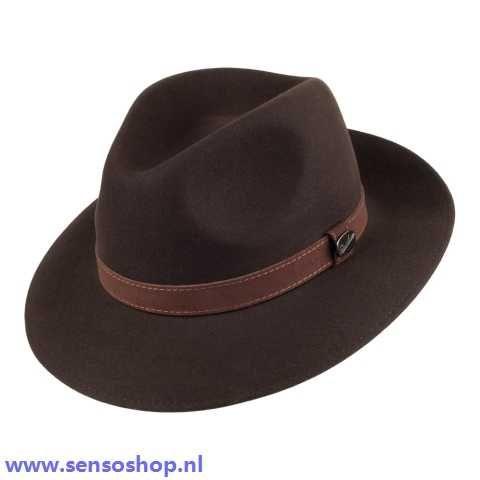 Dames hoeden - Borsalino Samenpersbare Safari Fedora - Brown