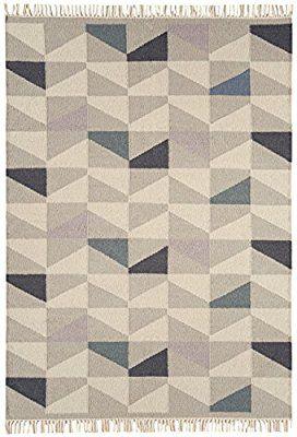 Moderna Designer tappeto kilim Hackney 160x230cm Geo senape giallo senape, avorio, grigio 80% lana 20% IUTA
