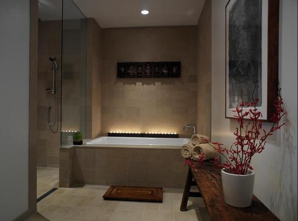 warm tones, red accents, wood decor