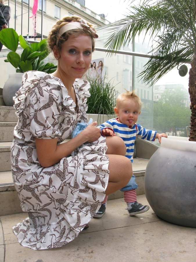 Beautiful Blonde and her beautiful blonde child wearing an Ivana Helsinki dress #streetstyle