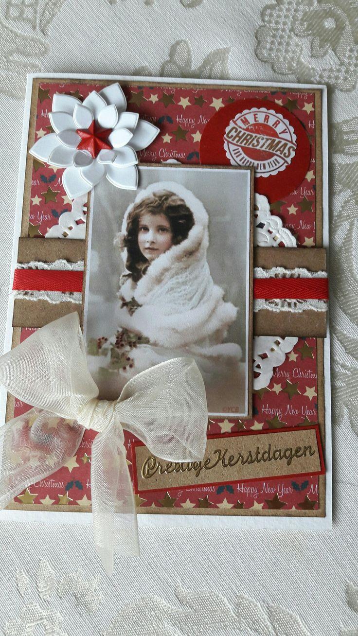 Vintage kerstkaart gemaakt