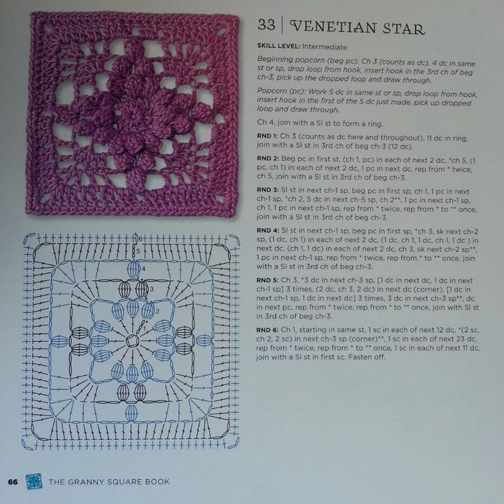Venetian Star - from The Granny Square Book by Margaret Hubert #crochetmoodblanket2014 granny square crochet pattern